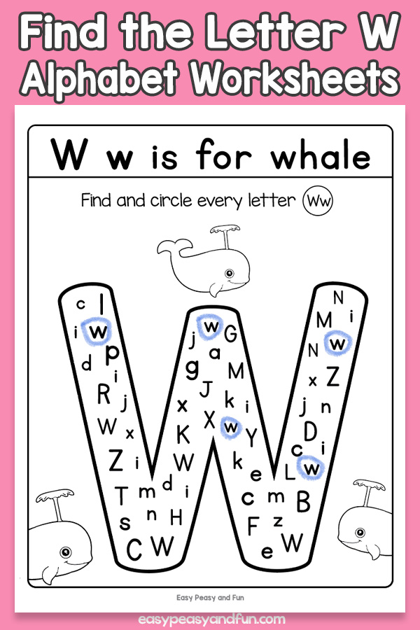 Find The Letter W Worksheets Easy Peasy And Fun Membership