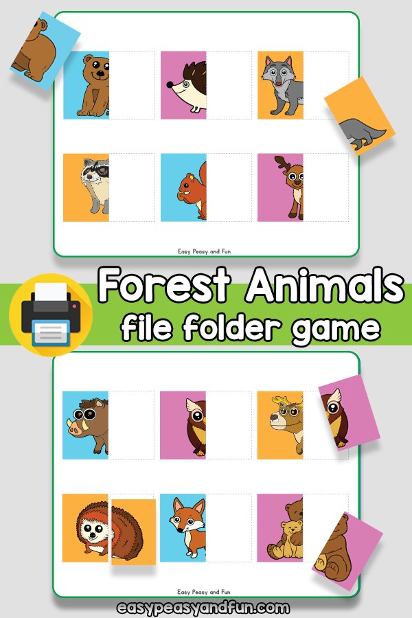 Forest Animals File Folder Game