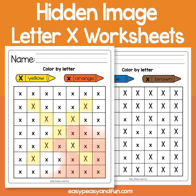 Hidden Image Letter X Worksheets