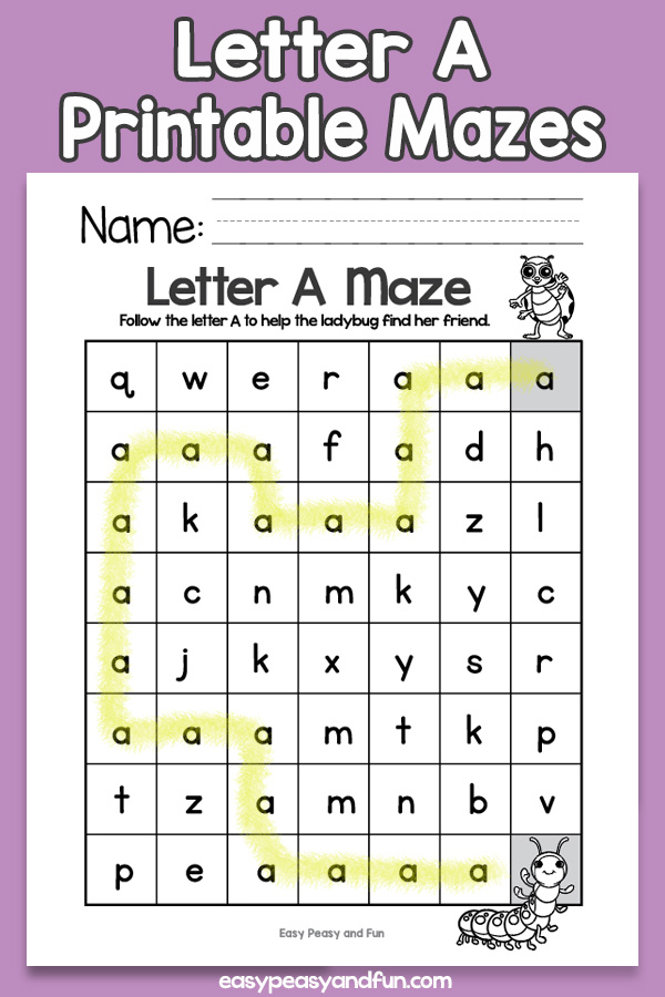 Letter A Mazes for Kids - Alphabet Worksheets