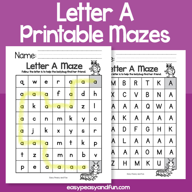Letter A Mazes