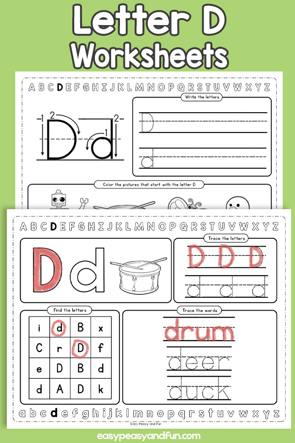 Letter D Worksheets - Alphabet Worksheets