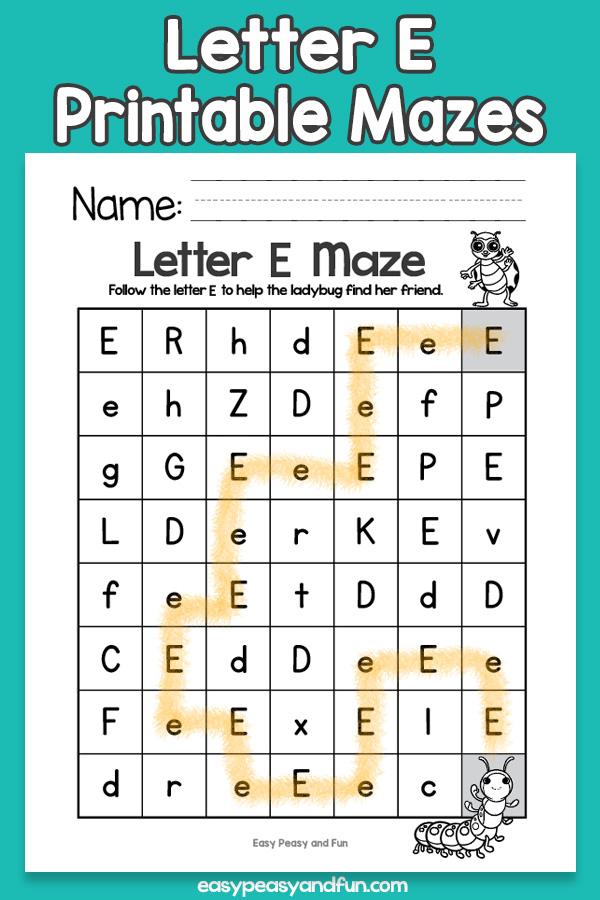 Letter E Mazes for Kids