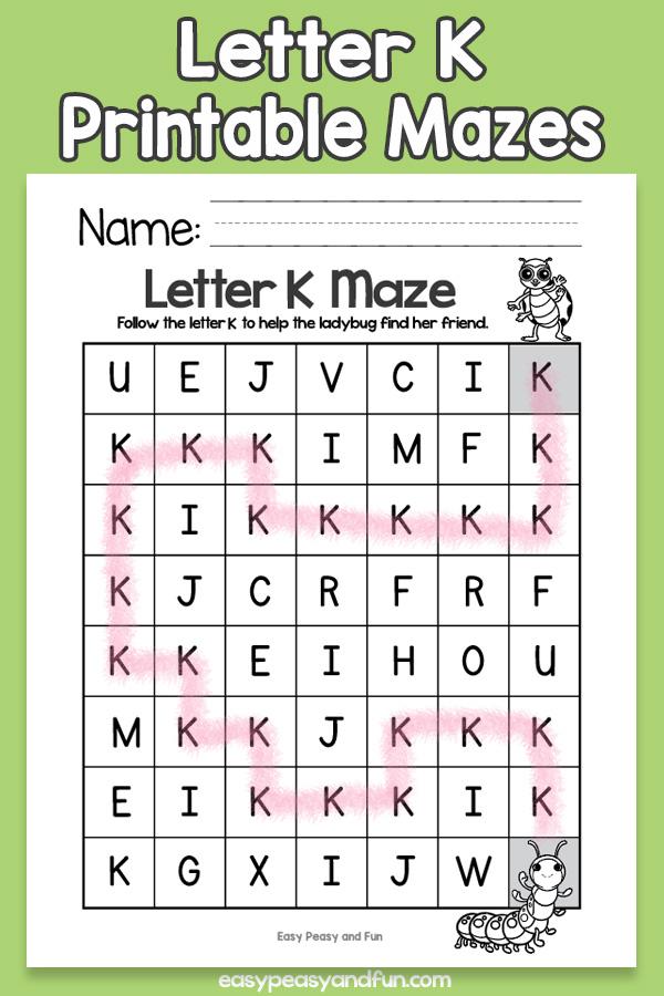 Letter K Mazes for Kids Alphabet Worksheets
