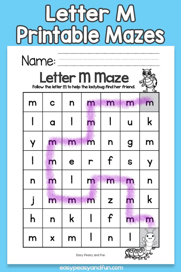 Letter M Mazes for Kids Alphabet Worksheets