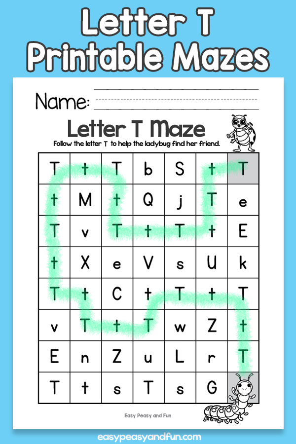 Letter T Mazes for Kids Alphabet Worksheets
