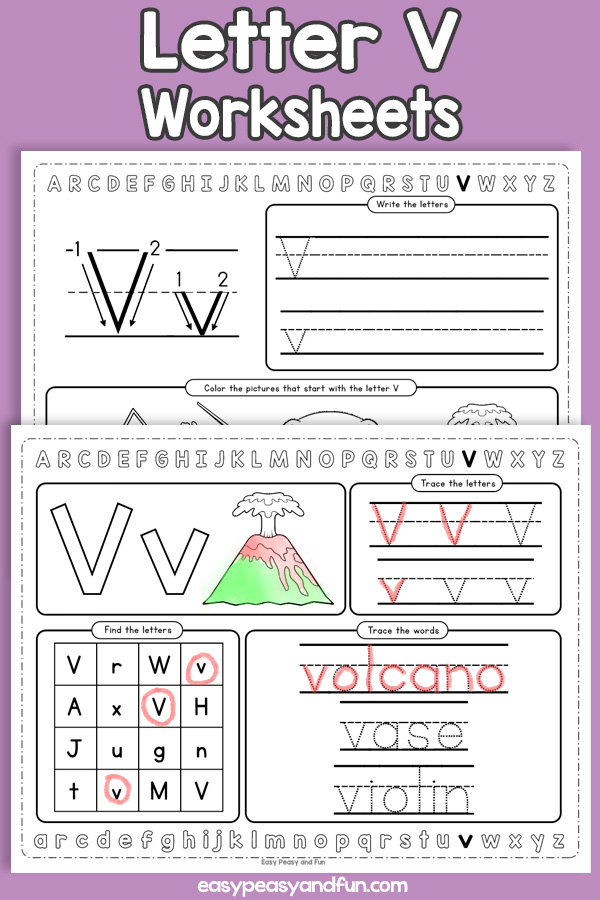 Letter V Worksheets - Alphabet Worksheets
