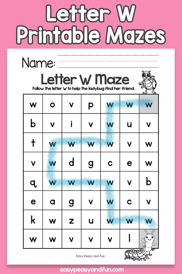 Letter W Mazes for Kids Alphabet Worksheets