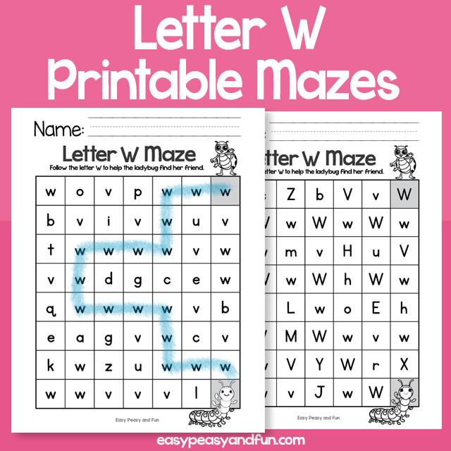 Letter W Mazes