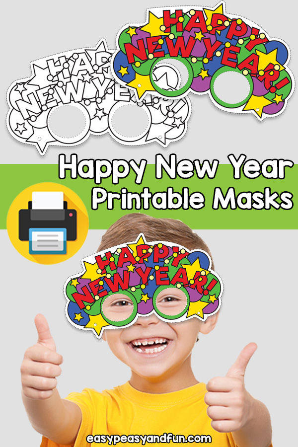 Printable Happy New Year Mask Template