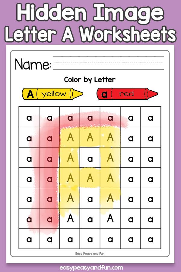 Printable Hidden Image Letter A Worksheets