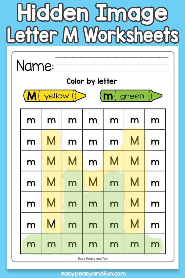 Printable Hidden Image Letter M Worksheets