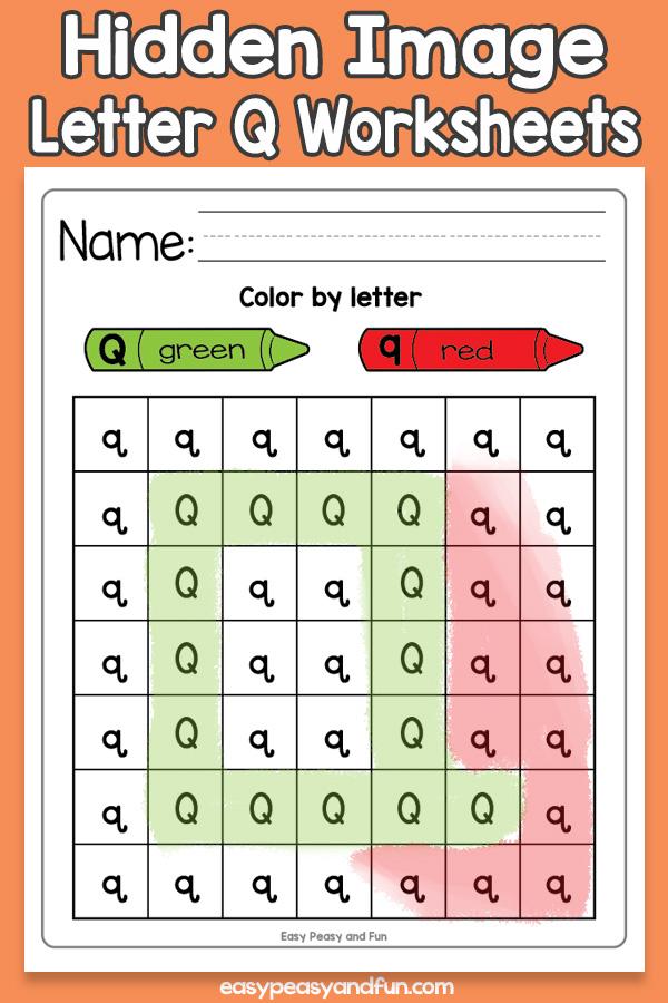 Printable Hidden Image Letter Q Worksheets