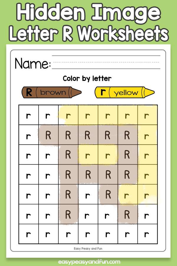 Printable Hidden Image Letter R Worksheets