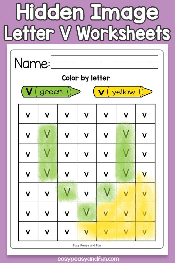 Printable Hidden Image Letter V Worksheets