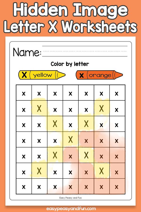 Printable Hidden Image Letter X Worksheets