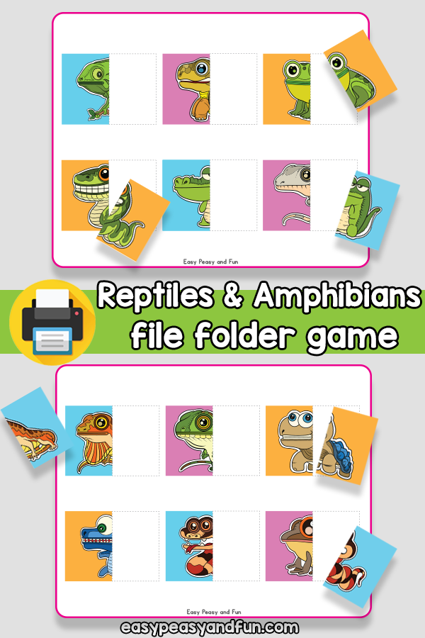 Reptiles and Amphibians File Folder Game