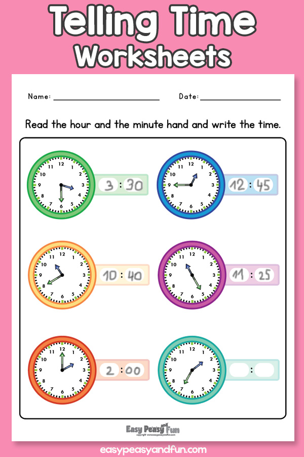 Telling Time Worksheets for Grade 1