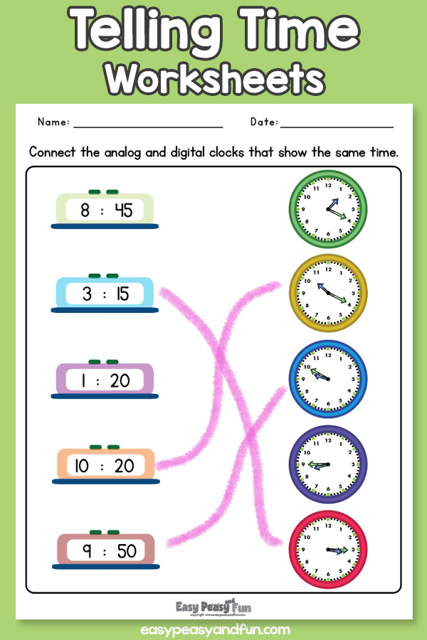 Telling Time Worksheets for Kindergarten