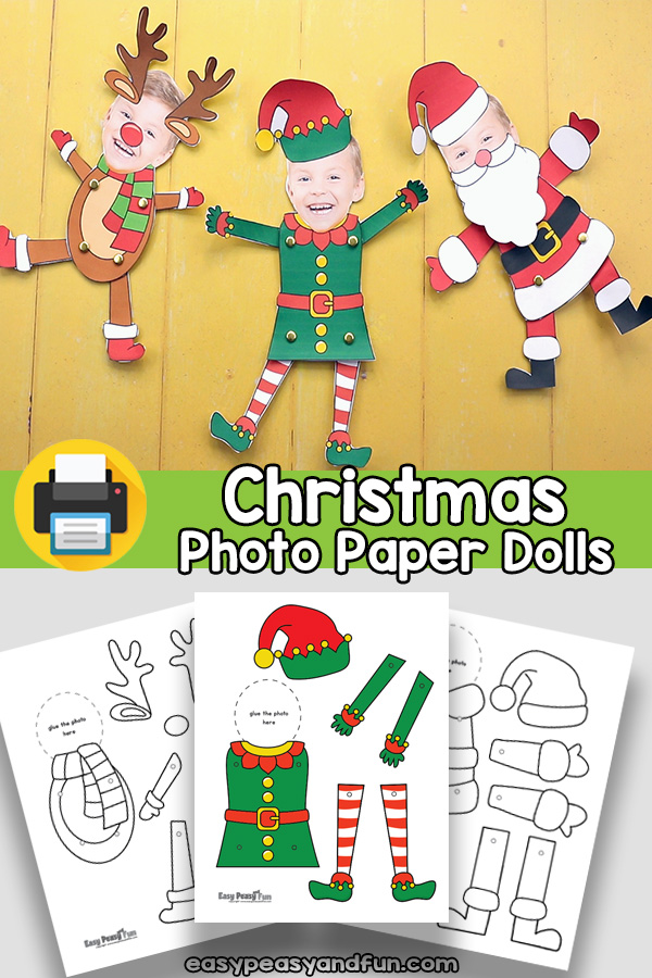 Movable Photo Christmas Dolls Craft Template - Elf Yourself, Reindeer Yourself, Santa Yourself
