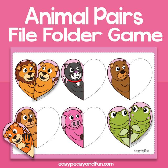 Animal Pair Matching File Folder Game