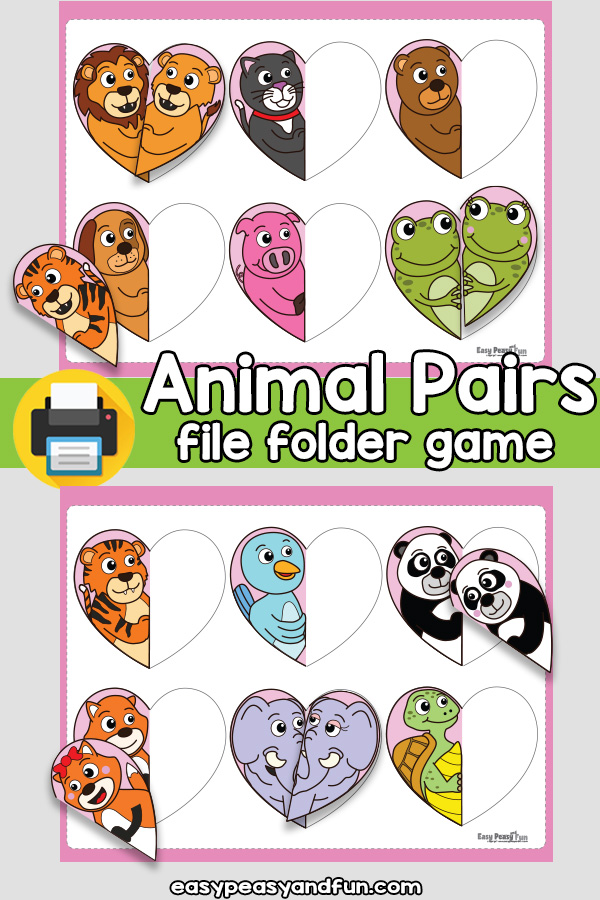 Valentines Day Animal Pairs File Folder Game