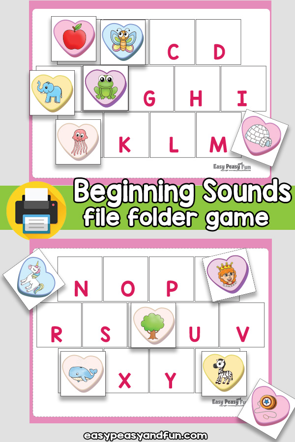 Valentines Day Beginning Sounds File Folder Game