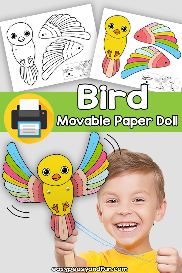 Bird Movable Paper Doll Template