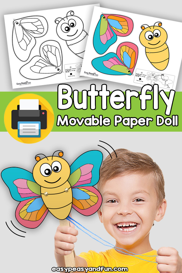 Butterfly Movable Paper Doll Template