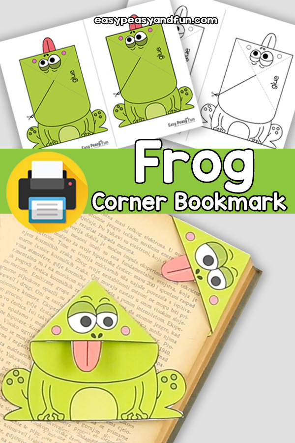 Printable Frog Corner Bookmarks Craft Template