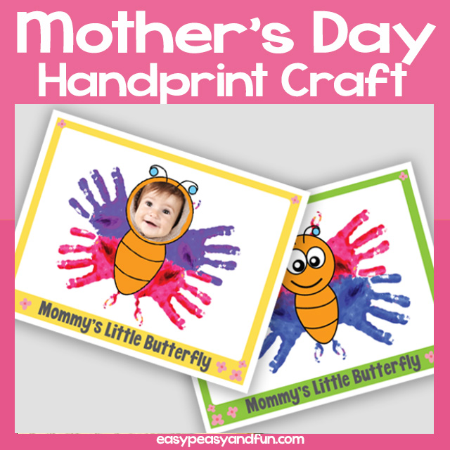 Mommy's Little Butterfly Handprint Mother's Day Craft. Template