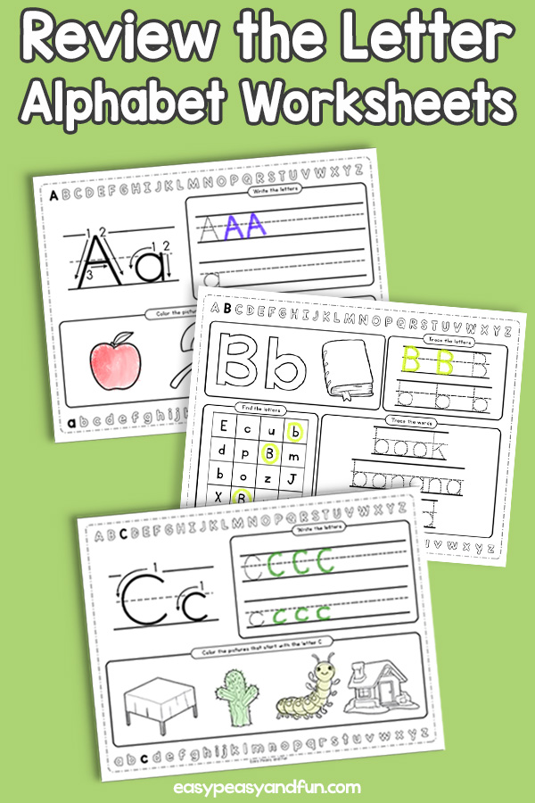 Review The Letter Alphabet Worksheets