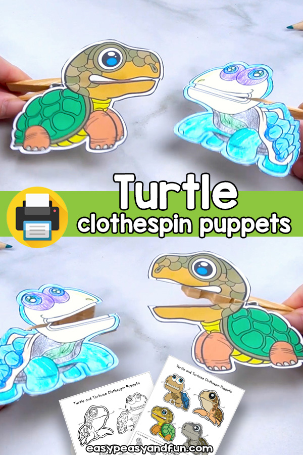 Turtle Clothespin Puppet Printable Template