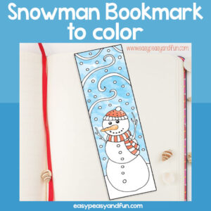 Snowman Bookmark to Color