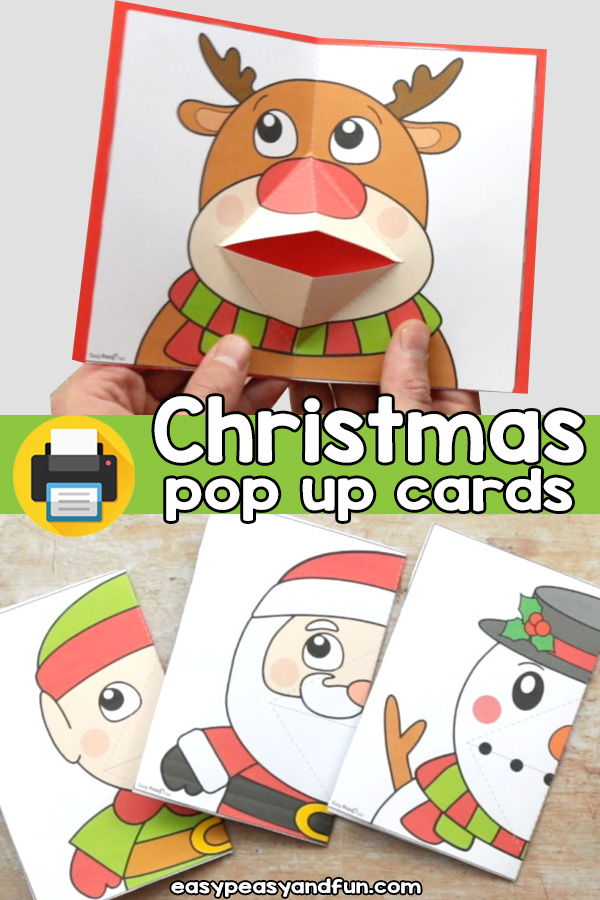 Christmas Pop Up Cards - Reindeer, Santa, Elf and Snowman