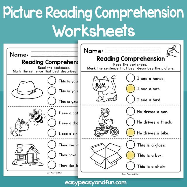 Picture Reading Comprehension Worksheets for Kindergarten Kids