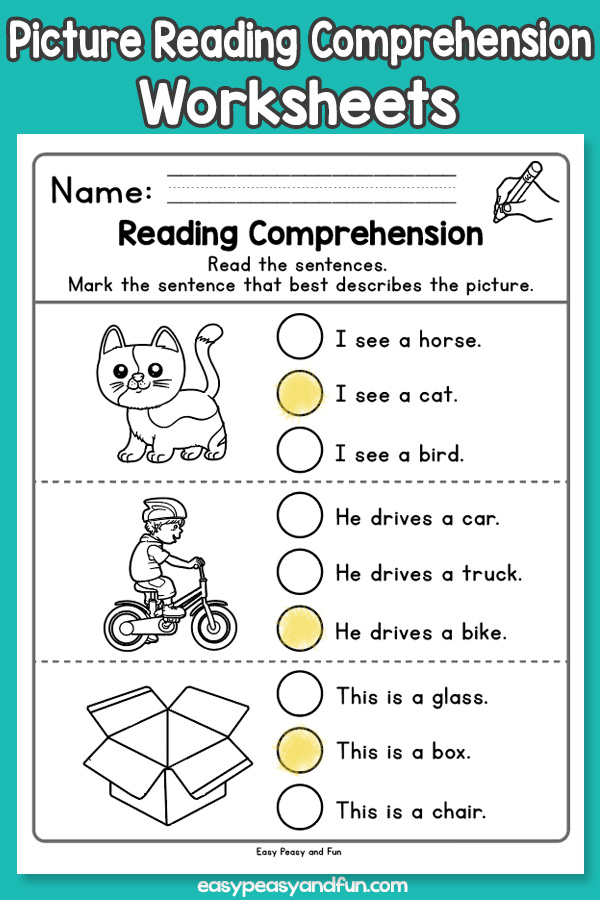Picture Reading Comprehension Worksheets for Kindergarten