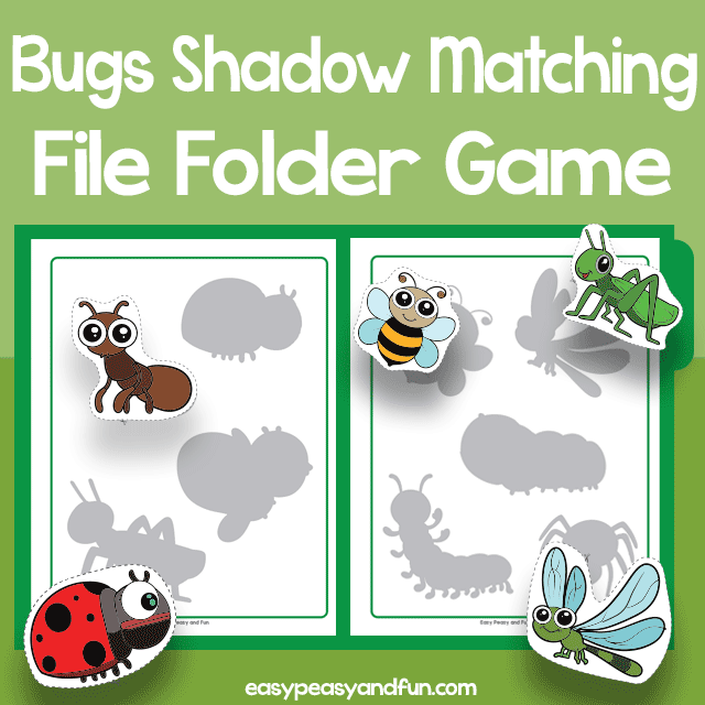 Bugs Shadow Matching File Folder Game
