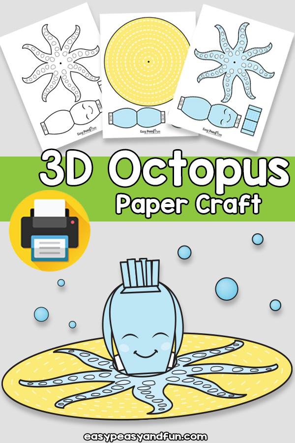 3D Paper Octopus Craft Template
