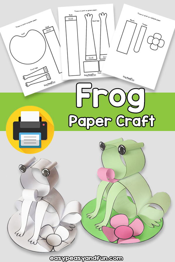 Frog Craft Made with Paper Strip Template