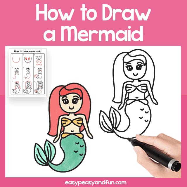 Mermaid Guided Drawing Printable