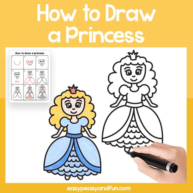 Princess Guided Drawing Printable