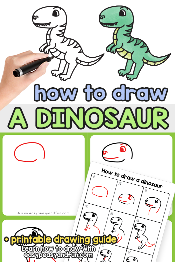 How to Draw a Dinosaur Step by Step Tutorial