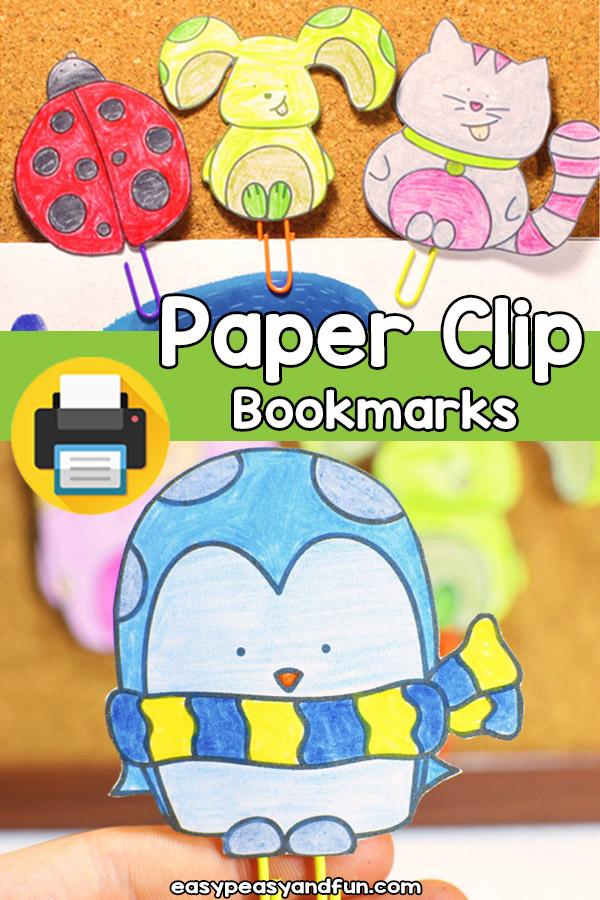 Printable DIY Paper Clip Bookmarks Template