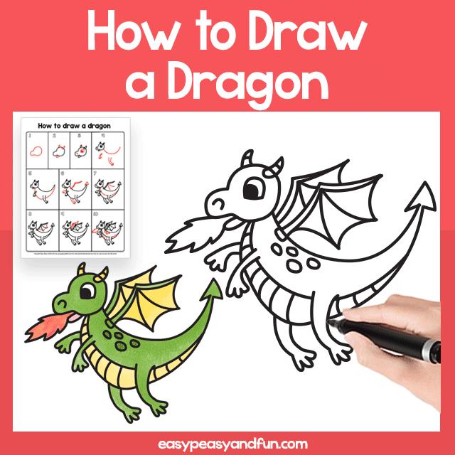 Dragon Guided Drawing Printable