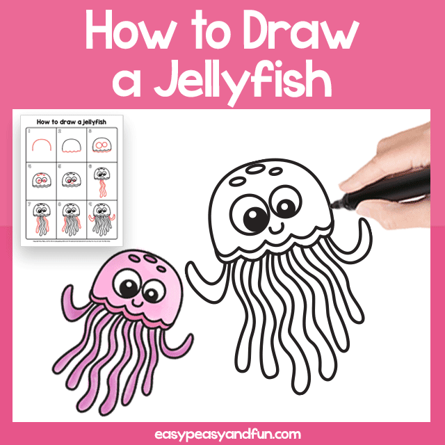 Jellyfish Guided Drawing Printable