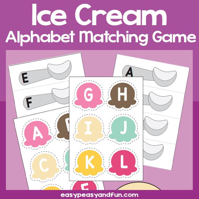 Printable Ice Cream Alphabet Matching Game