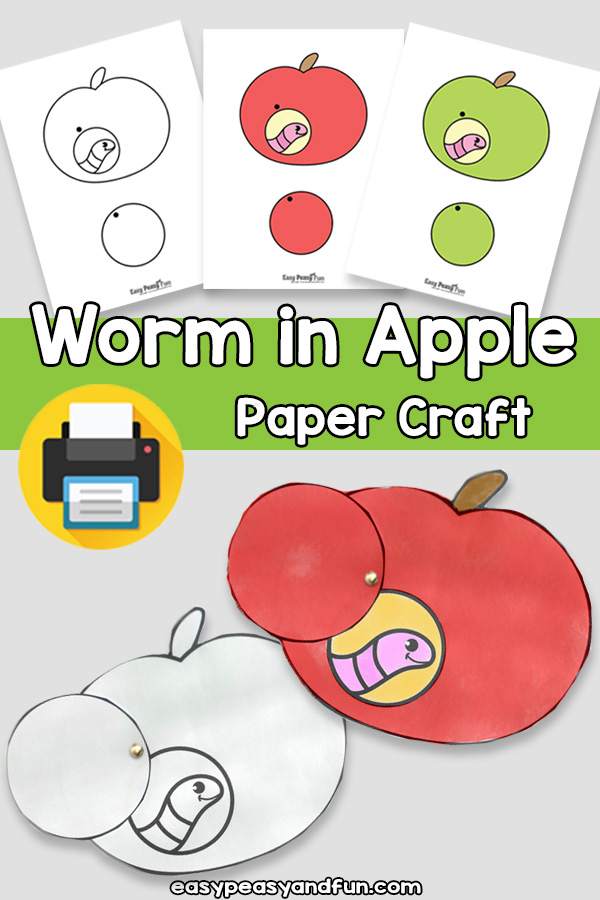 Worm in Apple Paper Craft Template