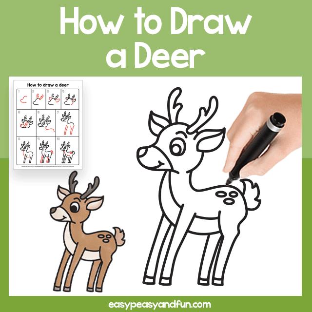 Deer Guided Drawing Printable