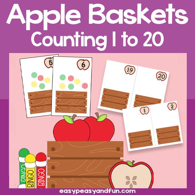 Printable Apple Baskets Counting 1-20